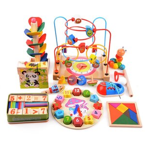 14pcs set Wooden Counting Three-Dimensional Jigsaw Round Circles Bead Wire Maze Roller Coaster Toy Child Baby Early Educational Toys