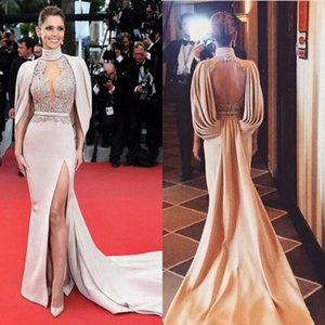 2020 New Backless Famous Star Red Carpet Dress Sexy Evening Dress High Split Side Slit Open Back High Neck Celebrity dresses Free Shipping on Sale