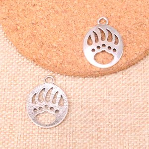 Wholesale 54pcs Charms bear paw Antique Silver Plated Pendants Fit Jewelry Making Findings Accessories mm