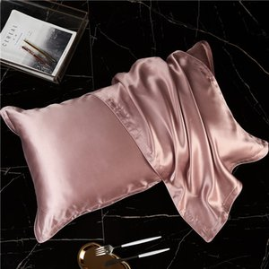 48*74cm 100% Pure Natural Silk Pillowcase 19m m Mulberry Silk Pillowcase Care For Skin Pillow Cover Home Hotel Pillowcases 2 Pieces ePacket on Sale