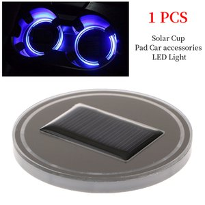 Wholesale Solar Car Cup Holder With LED Light Bottom Mat Pad Cover Atmosphere Lamp Bottle Drinks Coaster Automotive Interior Car Styling