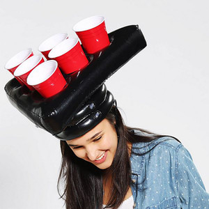 Inflatable Beer Pong Hats Hat Rings Toss Game Fun Lawn Game Toys Throwing Ring Adult Kids Ferrule Tools Christmas Halloween Prop