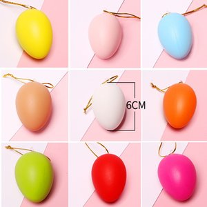 Wholesale Easter DIY Eggs Easter Children Painting Egg Toy With Rope Gifts Plastic Hanging Easter Arts Crafts DIY Toys Family Funny Gadgets
