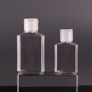 30ml 60ml Empty PET plastic bottle with flip cap transparent square shape bottle for makeup fluid disposable hand sanitizer gel