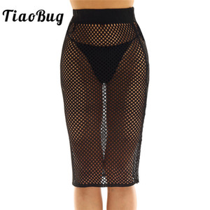 Wholesale TiaoBug Women Fashion High Waist Hollow Out Fishnet Bikini Swimsuit Cover ups Black White Hot Sexy Bodycon Midi Skirt Beachwear