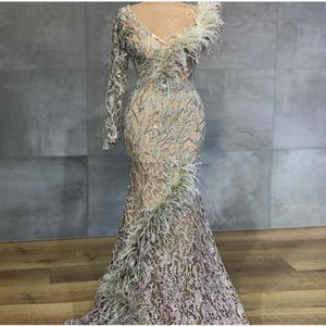 Feathers Mermaid Evening Dresses Long Sleeve Lace Beaded One Shoulder Prom Dress Dubai Arabic vestidos de fiesta on Sale