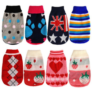 Wholesale Wool Knitted Small Dog Cat Sweater Crochet Winter Protection Pet Clothes Lovely Puppy Apparel Factory Direct Sale bx BB