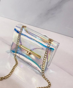 Wholesale Fashion Women Plastic Messenger Handbag Transparent Laser Handbag Clutch Shoulder Crossbody Bag Chain Bag Clear Bag Evening Purse 2019cat