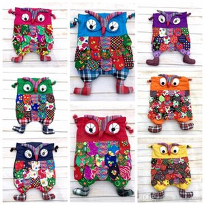 Preschool Kids Owl Ethnic Bag Colorful Stitch cartton soft Backpack with string Children Purse Gift patchwork bag