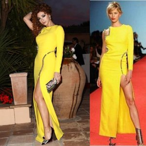 Wholesale Sexy Yellow Sheath Evening Dresses With One Shoulder Long sleeves back Crystal Beaded Fashion Long Prom Dress REd Carpet Dresses
