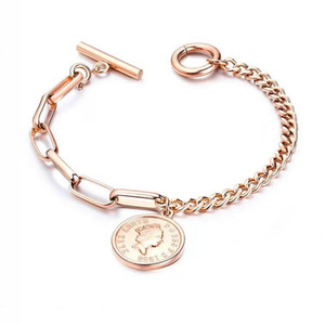 Wholesale Fashion European USA Style Jewelry for Women Queen Head Coin Charm Bracelet Silver and Gold Color