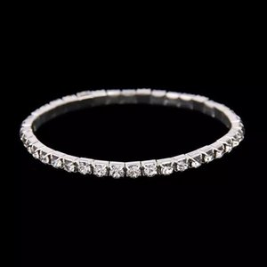 Wholesale Cheap Silver Rhinestones Bridal Bracelets Stretch Wedding Accessory Crystal Row Chain Wedding Party Jewelry In Stock 2019