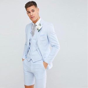 Wholesale 2020 Handsome Young Mens Wedding Tuxedos Suits Blazer Short Pants Vest Fashion Blazer Suits For Prom Evening Party Weddings Custom Mad