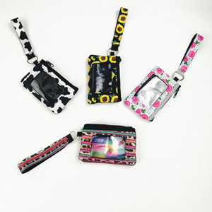 Wholesale Creative Neoprene Card bag Pocket Women Mini Wallet Ladies Hanging Bag Coin Purse Waterproof Credit ID Card Slot Case with Lanyard New ST184