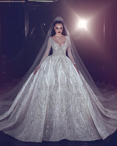 Luxury Beading Wedding Dress Princess Illusion Long Sleeve Wedding Gowns Sexy Deep V Neck Ball Gown Bridal Dresses