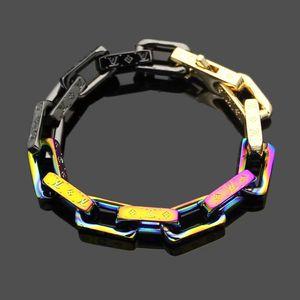 Fashion New Arrive Men 316L Titanium steel Engrave Four Leaf Flower Colored 18K Plated Gold Thick Chain Bracelets