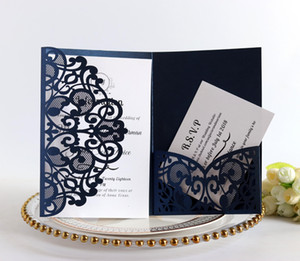 Wholesale 100pcs European Laser Cut Wedding Invitations Card Elegant Tri fold Lace Business Greeting Cards Wedding Party Favor Decoration T8190617