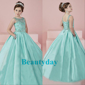 ingrosso abiti da teenager-Aqua Pageant Dresses Sheer Neck Beaded Crystal Satin Mint Green Flower Girl Gowns Formale Party Dress For Teens Bambini