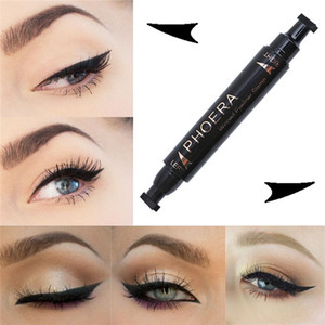 Wholesale PHOERA Liquid Eyeliner Pen Make Up Waterproof Black Double ended Cat Eye Sexy Winged Stamp Eyeliner Pencil Beauty Cosmetics
