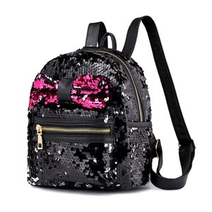 Wholesale NEW Fashion Bow knot Style Sequin Stars Small Girls Backpack Bling Design For Women Girls Shoulder Bags Travel Casual Shcool Bags