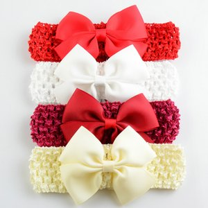 Wholesale New Korea Children Knitted elastic headbands Baby Bow Crochet hair band colors p l