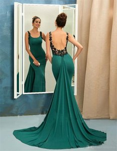 Emerald Green Mermaid Evening Dresses 2020 Scoop Sleeveless Backless Arabic Sweep Train Prom Dresses Party Gown on Sale