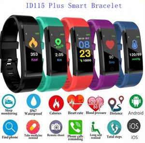 Wholesale Novel ID115 Plus Smart Bracelet Fitness Tracker Smart Watch Heart Rate Watchband Smart Wristband For Apple Android Cellphones with Box