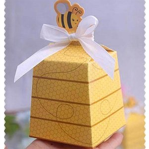 Wholesale 50pcs Cute Yellow Bee Wedding Favors Candy Boxes Gift Box Paper Bags With White Ribbons Wedding Birthday Party Supplies