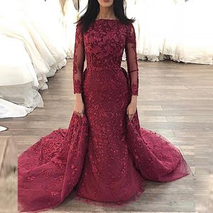 Wholesale luxury arabic long sleeve evening gowns moroccan kaftan Mermaid Detachable Train Lace party Prom Gowns glitz pageant dresses for girls