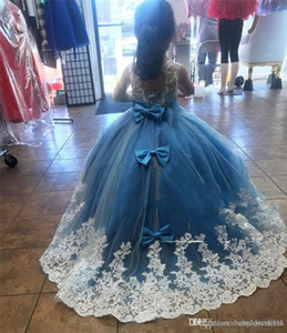 Wholesale new kids evening gown for sale - Group buy New Design Mint Green Girls Pageant Dresses Ball Gown Lace Appliqued Butterflies Kids Evening Prom Party Gowns