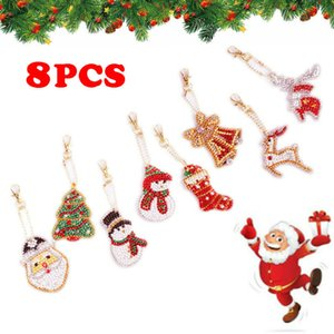 8x DIY crystal Painting Chrismas Santa Key Ring Pendant Bicycle car Keychain Cute Xmas Gift Loves family friend keychain set