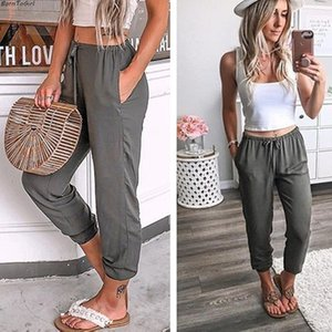 Borntogirl Casual Cotton Pants For Women High Waist Black Navy Blue Brown Gray Khaki Pants MX190717 on Sale