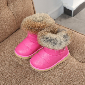 Wholesale Winter Plush Baby Girls Snow Boots Warm Shoes Pu Leather Flat With Baby Toddler Shoes Outdoor Snow Boots Girls Kids Shoe