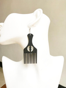 1 pair black african map comb wood earrings , Afro pick gift wooden Jewelry , have 2 color can choose