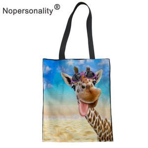 Wholesale Nopersonality Giraffe Printed Tote Bag for Women Cute College Girls Canvas Handbag Casual Ladies Beach Shoulder Bag