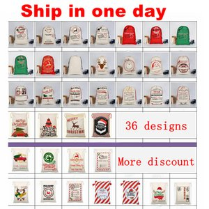 Santa Sacks Monogrammable Christmas Gift Bags Santa Sack Drawstring Bag Santa Claus Deer 33 Designs Bulk in Stock YW244
