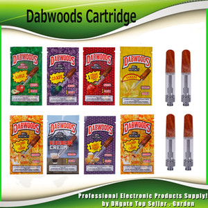 Wholesale Dabwoods Vape Cartridge Carts Empty ml ml Ceramic Coil Wood Flat Tip Tank Thread Thick Oil Atomizer Bags Box Flavor Packaging