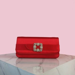 RV high-end silk and satin socialite party evening wear bag in hand hand diamond-encrusted red bridal bridesmaid bag