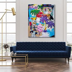 Wholesale palms oil resale online - Alec Monopoly Artworks MIXED RETROSPECTIVE WITH PALM TREES Home Decor Handpainted HD Print Oil Painting On Canvas Wall Art Canvas