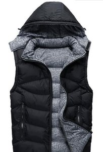 Wholesale Mens Vests Winter Autumn Down Sleeveless Jackets Solid Color Designer Hooded Outerwear