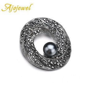 Wholesale Ajojewel Oval Shaped Black Crystal Rhinestones Brooch With Gray Simulated Pearl Vintage Style Brooches