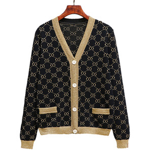 Brand fashion women's high-end luxury winter gold silk letter heavy work vintage wool knitted cardigan sweater