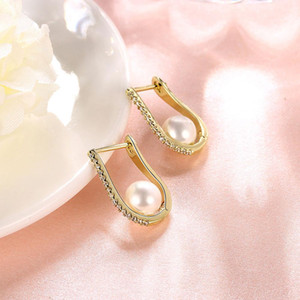 Uphot 18K Gold Fashion Earrings For Women Gold Crystal Pearl Earrings Bride Wedding Dress Stud Earrings Luxury Jewelry Free Shipping on Sale