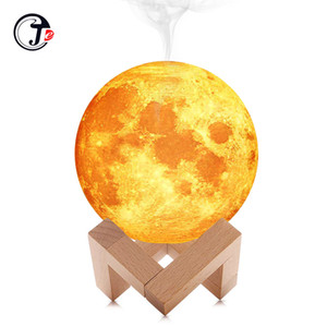 Wholesale New ML Air Humidifier D Moon Lamp Light Diffuser Aroma Essential Oil USB Ultrasonic Humidificador Night Cool Mist Purifier