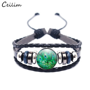 Wholesale Glass Metal Buckle Charm Handmade Bracelet Peacock Feather Women Fashion Jewelry Black Weave Multilayer Braided Leather Bracelet