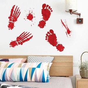 2020 Halloween Decoration Self-adhesive Paper Red Blood Footprint Drop Blood Handprint Waterproof Sticker 30*45CM on Sale