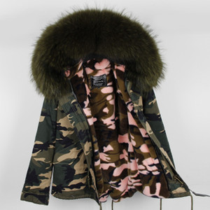 Wholesale Large Real Raccoon fur collar and good quality Velvet Liner removable warm for Women s short mini Camouflage Down parkas maomaokong