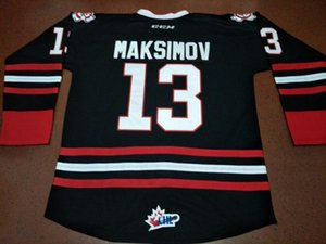 Real Men real Full embroidery 2016 Customize Niagara IceDogs #13 Kirill Maksimov 100% Embroidery Jersey or custom any name or number Jersey on Sale