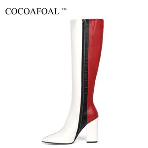 женские ботинки оптовых-COCOAFOAL Spring Autumn Women s Knee High Boots Woman Shoes Fashion Sexy High Heels Boots Pointed Toe Knee