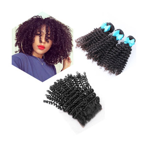 8A Brazilian Afro Kinky Curly Hair Bundles Virgin Unprocessed Extensions Full Cuticle Can be Dyed 3 Bundles With 1 Closure Machine Weft